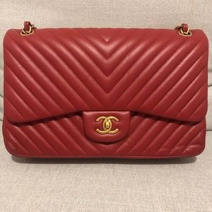 Chanel red chevron lambskin double flap jumbo